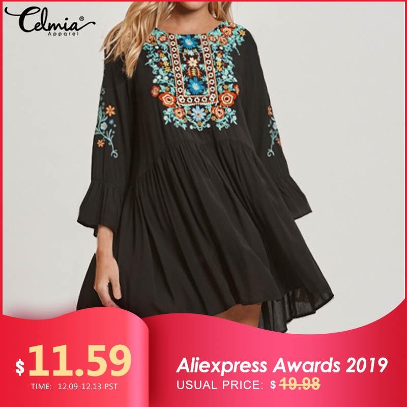 Women Vintage Floral Print Summer Dress 2019 Celmia Ladies Flare Sleeve Casual Loose Pleated Sexy Mini Dress Plus Size Vestidos