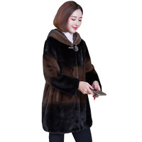 Mink fur Real fur coats 2020 winter womens clothing loose Plus size high quality fur jacket thick warm luxury fur Overcoat Q236