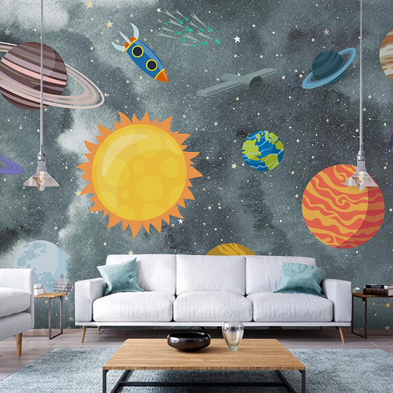 Custom Wallpaper 3D Hand-painted Space Children's Room Murals PVC Self-Adhesive Waterproof Removable Wall Stickers 3D Home Decor