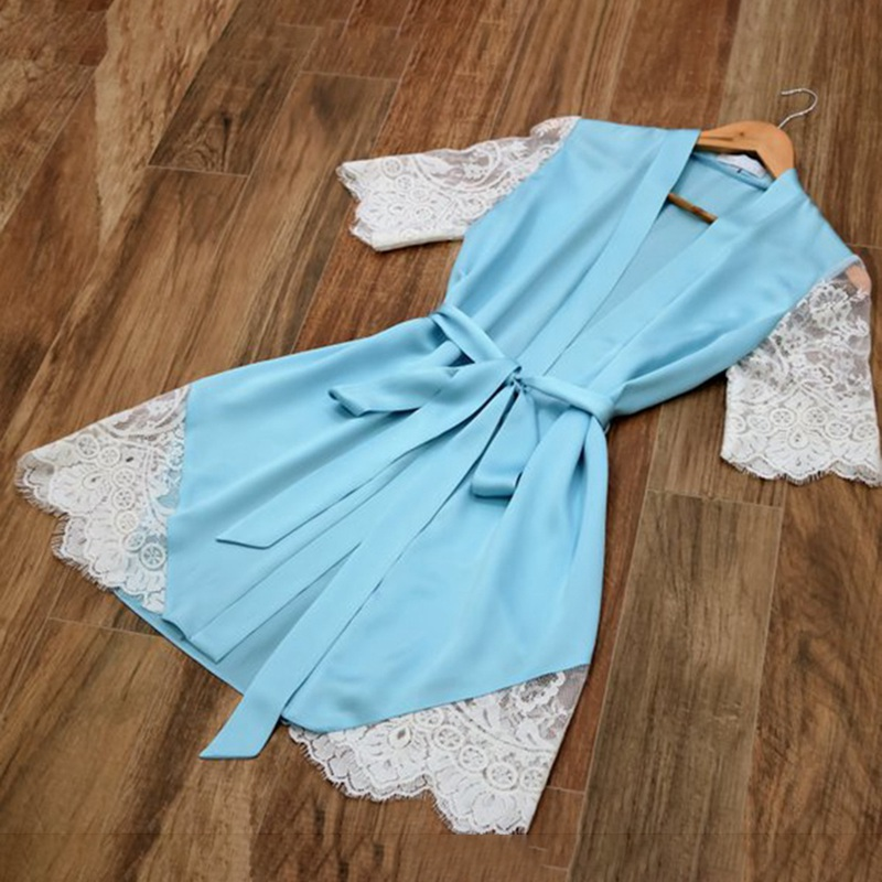 Silk Kimono Robe Bathrobe Women Silk Sexy Lace Patchwork Short Sleeve Robes Ladies Bandage Dressing Gowns Sleepwear
