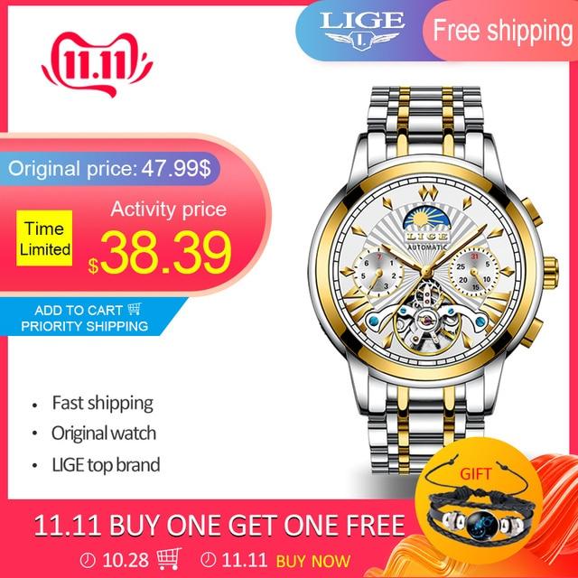 LIGE Official Store Mensนาฬิกาอัตโนมัติธุรกิจเครื่องกลนาฬิกาทองนาฬิกาผู้ชายReloj Mecanico De Hombres