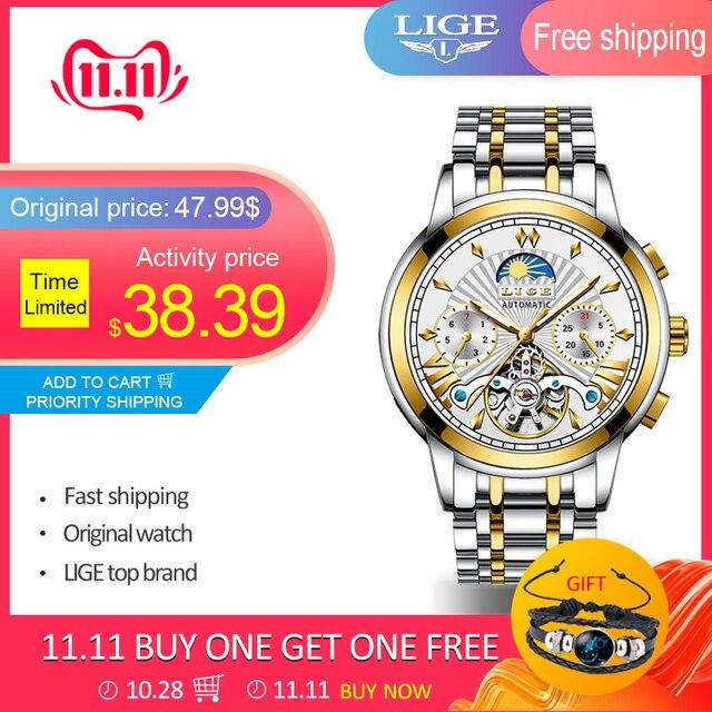 LIGE montre mécanique automatique pour homme, montre dorée pour homme, magasin officiel, marque supérieure de luxe