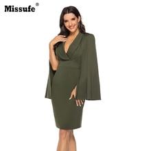Missufe  2019 Autumn New Elegant Women Wing Bat Sleeve V-neck Sexy Party Dress Slim Bodycon Dresses Vestidos