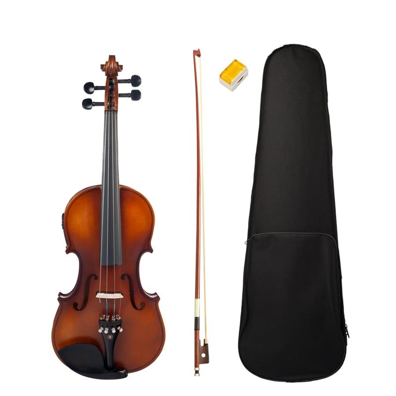 New NAOMI 4/4 Electric Violin 4/4 Full Size EQ Electric Violin Fiddle Kit with Bow Case Rosin Bridge