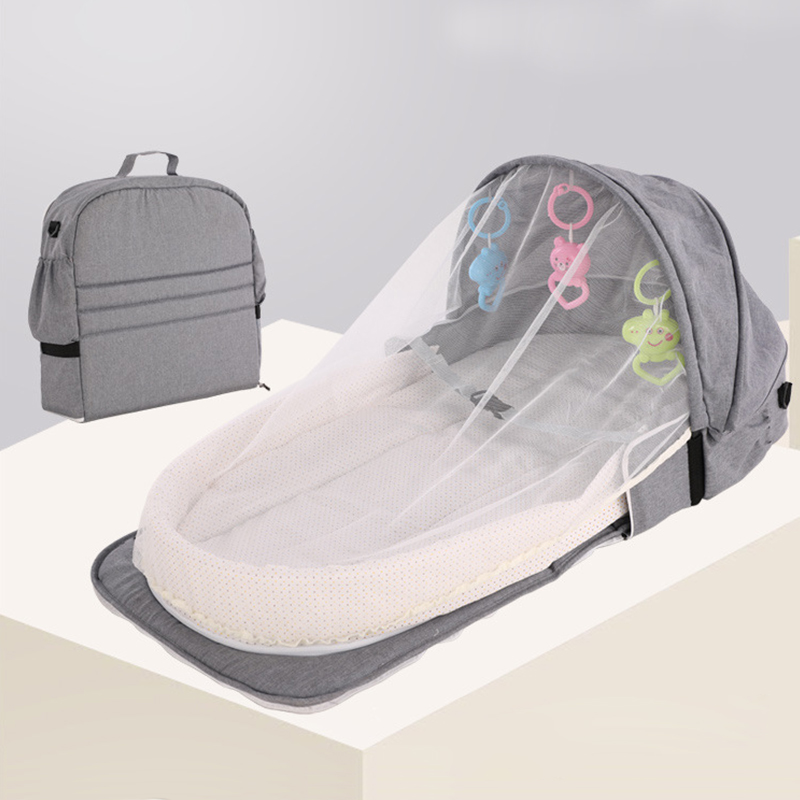 Portable Mobile Baby Bed Travel Crib Baby Nest Cot Newborn Multi-function Folding Bed Foldable Baby Nest With Toys Mosquito Net
