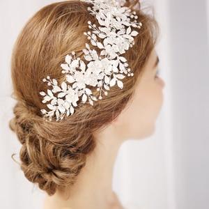 Image 3 - ファッション 2020 シルバー花ブライダルかぶとティアラウェディングヘアアクセサリーつる手作りヘッドバンドヘアアクセサリー花嫁のための