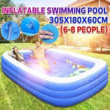 10ft 305CM Rectangular Inflatable Swimming Pool Paddling Pool Bathing Tub Outdoor Summer Swimming Pool Hot Spring For Kids Adult