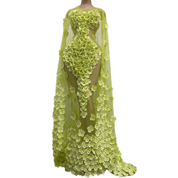 Luxury Yellow Flowers Mesh Long Dress Sexy See-through Crystals Catwalk Dress Birthday Party Singer Stage Costume Performance