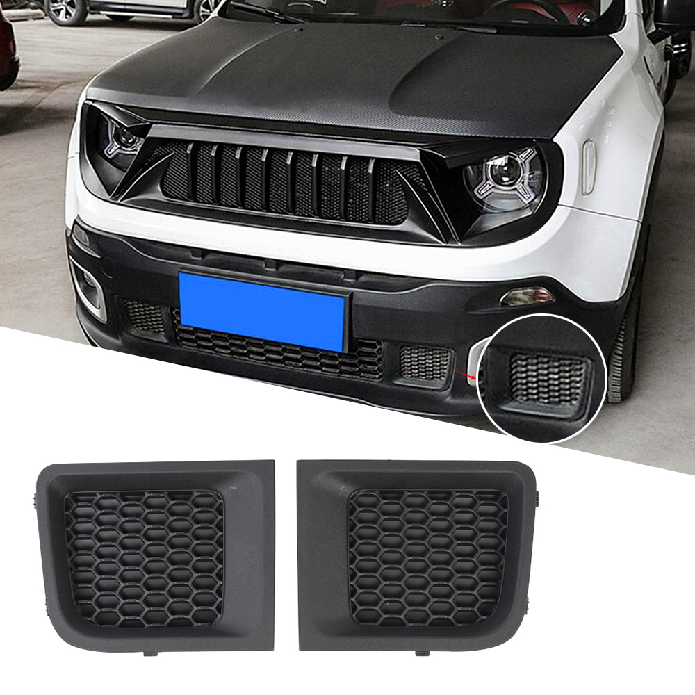For Jeep Renegade 2015 2016 2017 2018 Front Bumper Mesh Decoration Cover Trim Decal Abs Black Car Exterior Accessories Chromium Styling Aliexpress