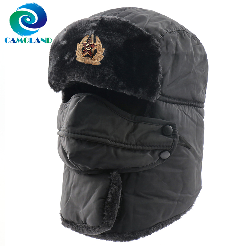 CAMOLAND Waterproof Skiing Winter Bomber Hats For Women Men Soviet Badge Russian Ushanka Hat Male Scarf Earflap Face Cover Caps