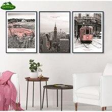 Escena de la ciudad Vintage rosa Rail Transit Car Nueva York lienzo pinturas póster impresión pared arte cuadros sala de estar decoración del hogar