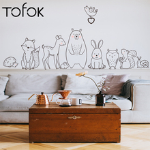 Tofok Cartoon Animal Wall Stickers Shy Bear Fox Baby Children Rooms Creative Nursery Decals Self Adhesive Home Decor Wallpaper