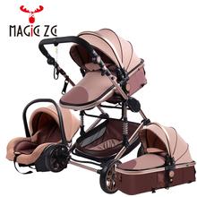 Wózek dziecięcy 3 w 1 wózek spacerowy dla noworodka wózek dla dziecka wózek spacerowy dla 0-36 miesięcy wózek dziecięcy High Landscape tanie tanio Magic ZC CN (pochodzenie) 0-3 M 4-6 M 7-9 M 10-12 M 13-18 M 19-24 M 2-3Y 4-6y EN1888 70 kg 3 in 1 baby stroller 0-3 years