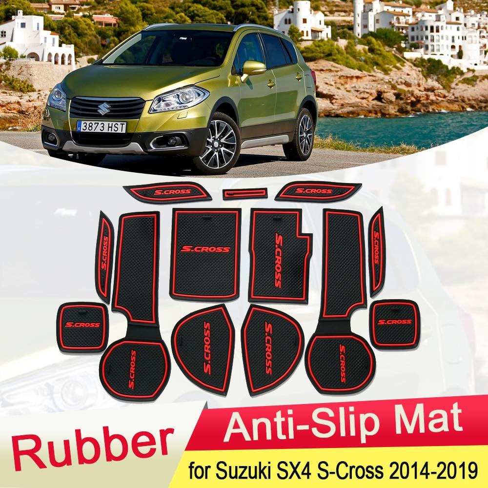 for Suzuki SX4 S-Cross 2014 2019 Rubber Anti-slip Mat Door Groove Cup Pad Gate Cushion Coaster Accessories 2015 2016 2017 2018