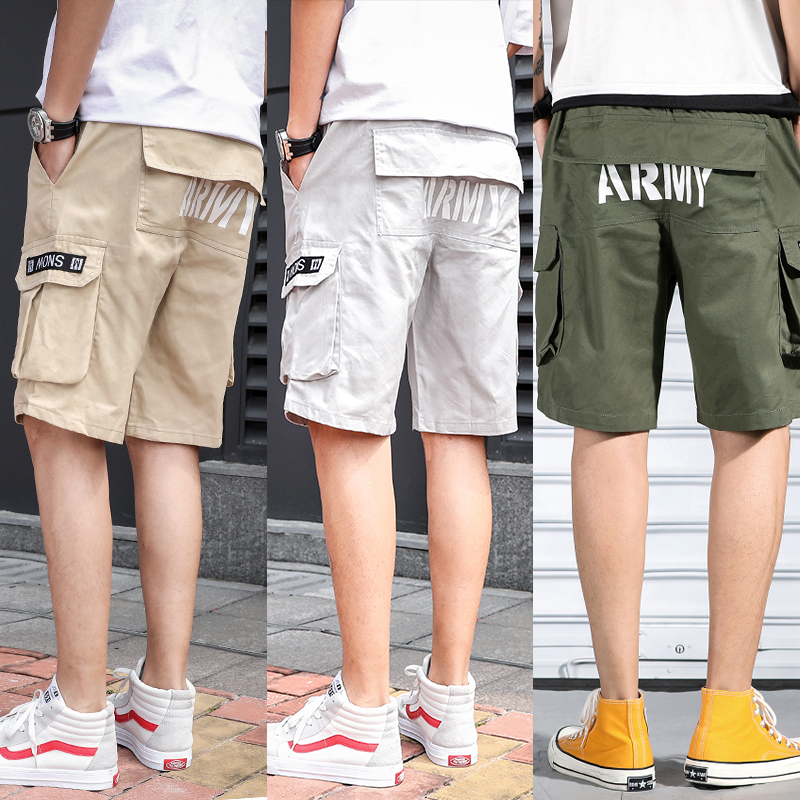 2020 Fashion Popular Men's Solid Color Summer Dress Tooling Wind Shorts Wear 5 Points Pants  887