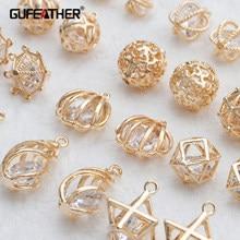 Gufeather m829, acessórios de jóias, 18k banhado a ouro, 0.3 mícrons, pingentes de zircão, feitos à mão, fazer jóias, brincos diy, 10 pçs/lote