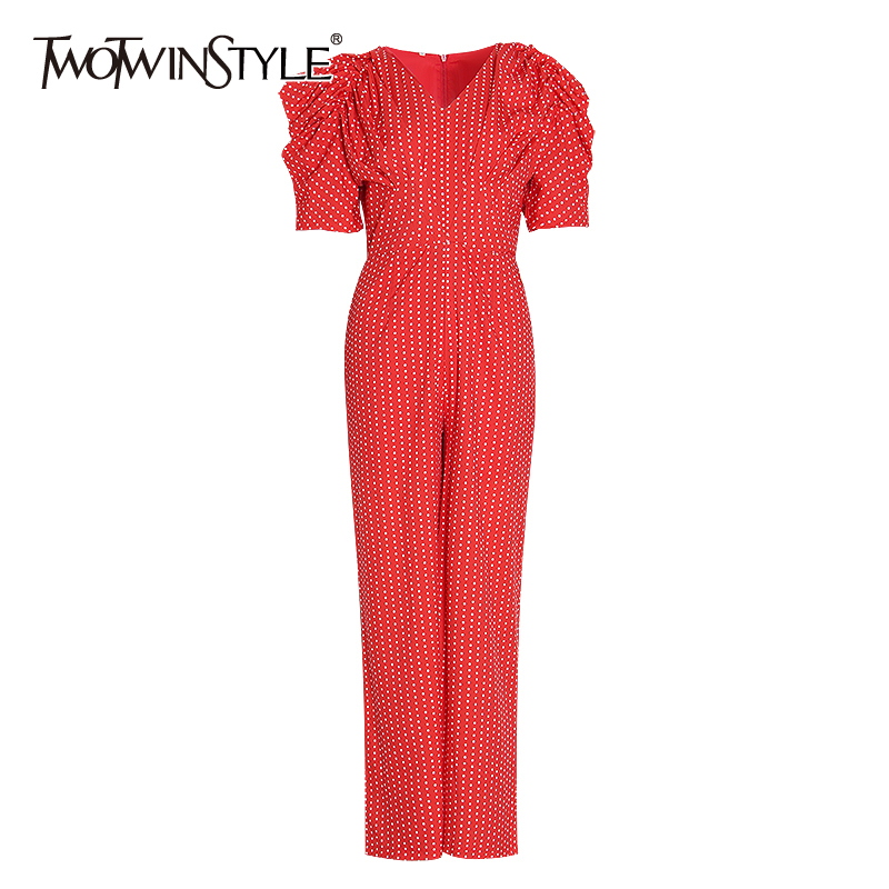 TWOTWINSTYLE Elegant Dot Hit Color Jumpsuits Female V Neck Puff Sleeve High Waist Tunic Jumpsuit Women Clothes 2020 Fashion Tide