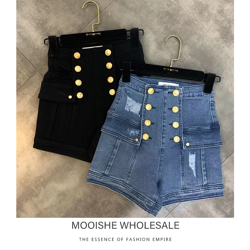 2019 Autumn New Denim Shorts High Waist Golden Decoration Hole Trend Denim Shorts Woman
