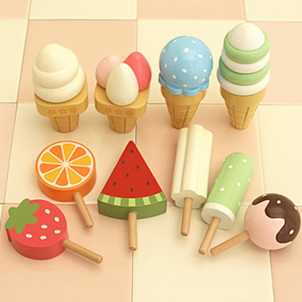 Simulation Kids Magnetic Ice Cream With Display Stand Wooden Toy Birthday Gift