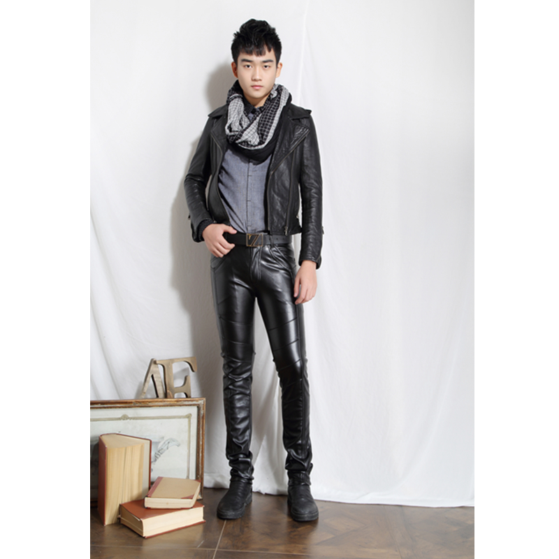2017 New Brand Personality Men s Leather Pants Slim Male Clothing PU Trousers Nightclub College Party