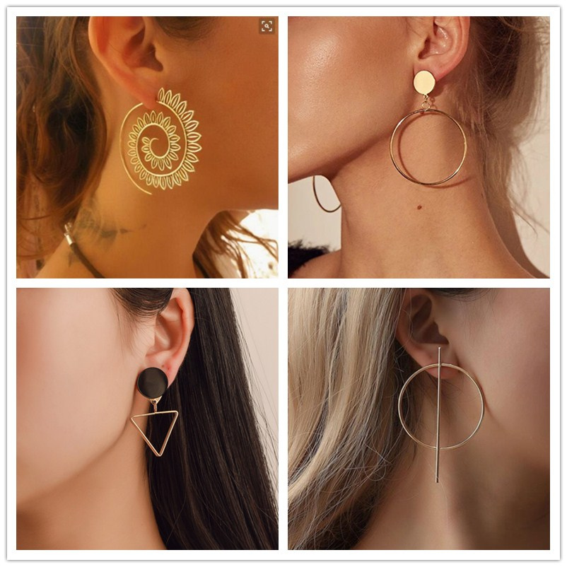 2020 New Fashion Round Dangle Drop Korean Earrings For Women Geometric Round Heart Gold Earring Wedding Jewelry 8g