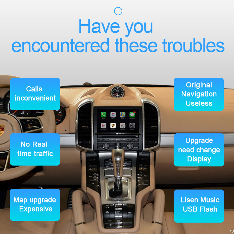 shiliuxing Wireless Apple Carplay Porsche PCM3.1 Android Auto For Cayenne Macan Cayman Panamera Boxster  911 Multimedia Mirror