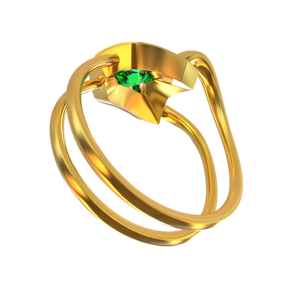 Adult Halloween Gothic Green Jewel Ring