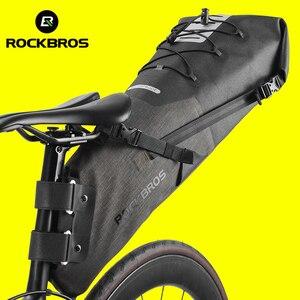Image 1 - ROCKBROS 자전거 가방 방수 반사 10L 대용량 안장 가방 사이클링 Foldable 꼬리 후면 가방 MTB 도로 트렁크 자전거 가방