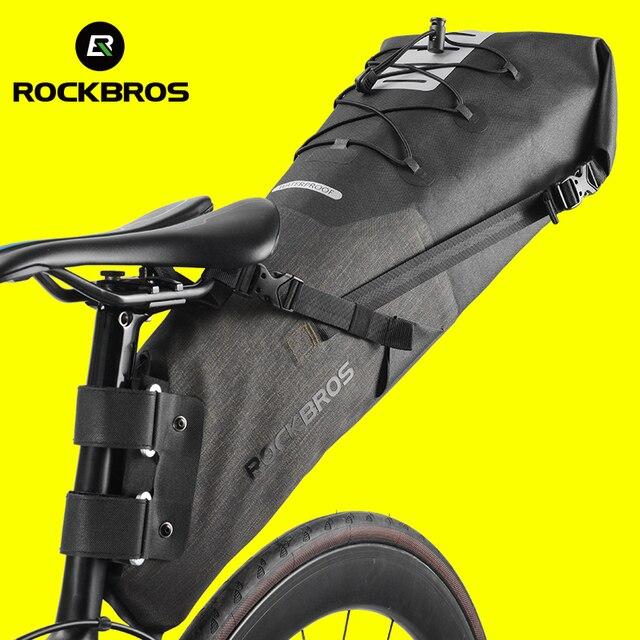 ROCKBROS 자전거 가방 방수 반사 10L 대용량 안장 가방 사이클링 Foldable 꼬리 후면 가방 MTB 도로 트렁크 자전거 가방