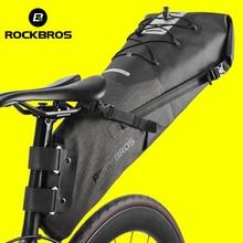 ROCKBROS אופני שקית עמיד למים רעיוני 10L גדול קיבולת אוכף תיק רכיבה על אופניים מתקפל זנב אחורי תיק MTB כביש גזע אופניים תיק