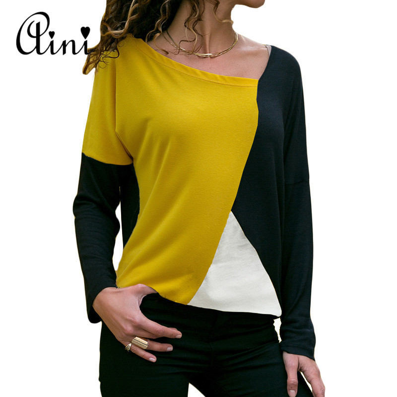 Plus Size Women Tops And Blouses 2019 Autumn Casual Loose Long Sleeve Patchwork O-neck Bottom Blouse Cheap Female Tee Shirts Top