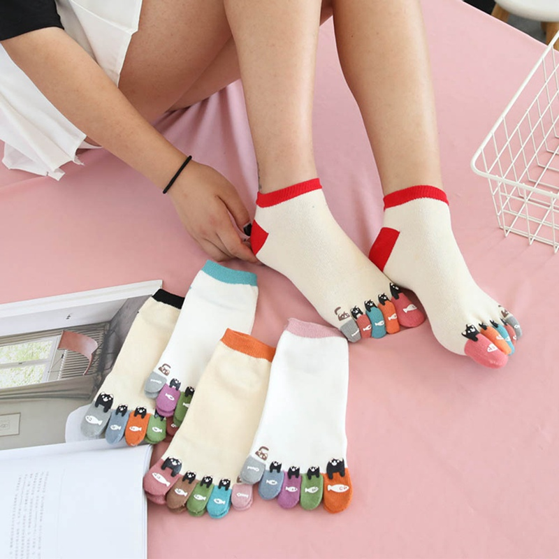 Socks Women Calcetines Mujer Socks Women Cotton Breathable Colorful Toe Five Finger Socks Cotton Funny Short Hosier