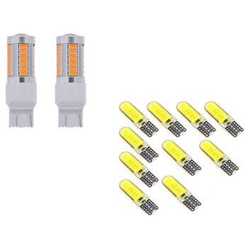 Bombilla Interior para coche T10 W5W COB LED, 10 Uds., 2x7443, bombillas LED T20 de color amarillo ámbar, 900 lúmenes
