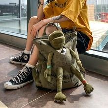New Versatile Backpack Kids Adult Canvas Backpack Green Frog Plush Doll