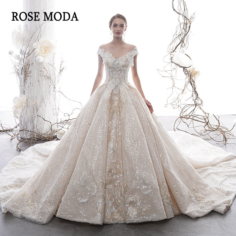 Rose Moda Luxury Ivory and Champagne Glittering Lace Wedding Dress 2020 Off Shoulder Ball Gown Long Train Custom Make