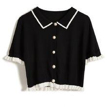 Рубашка поло женская с коротким рукавом шелковая блуза кукольным