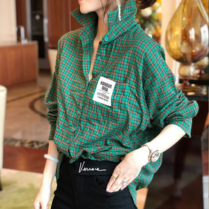 2020 Spring Autumn Korea Fashion Women Long Sleeve Plaid Shirts All-matched Casual Turn-down Collar Loose Green Blouses S696
