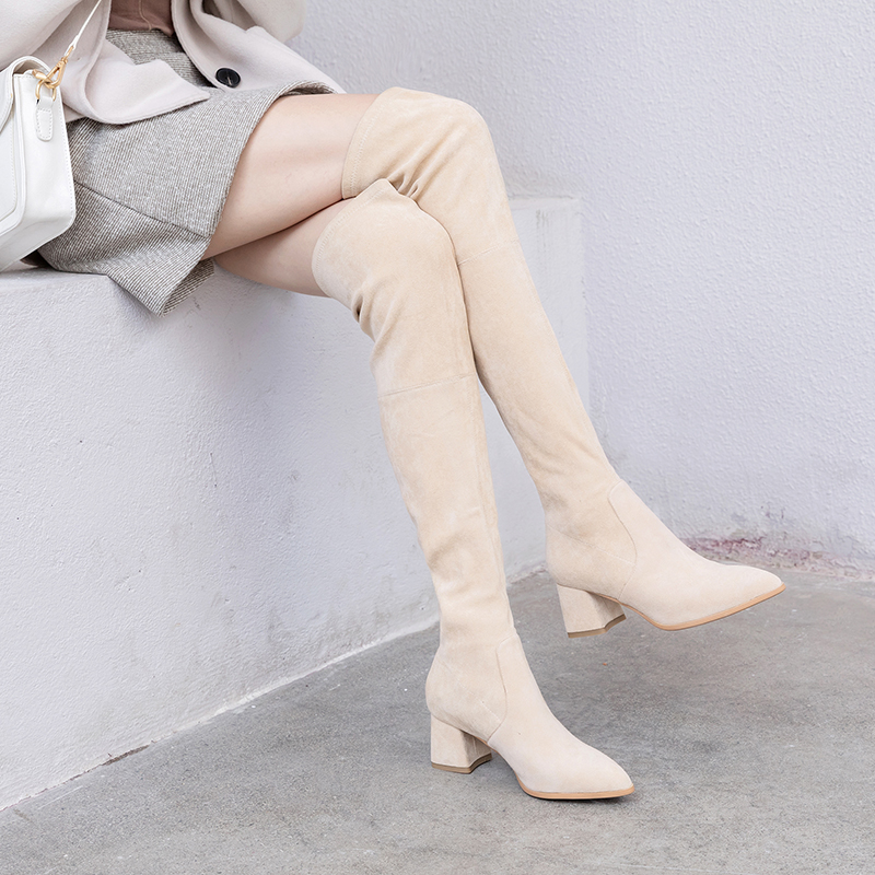 Modern Stylish Flock Women Over-the-knee Pointed Toe Winter Boots Female Square Heeled  AJ555