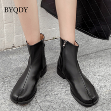 BYQDY Autumn Women Boots Square Toe Lady Shoes Solid Black Ankle Side Zipper Winter Casual Party Nightclub booties
