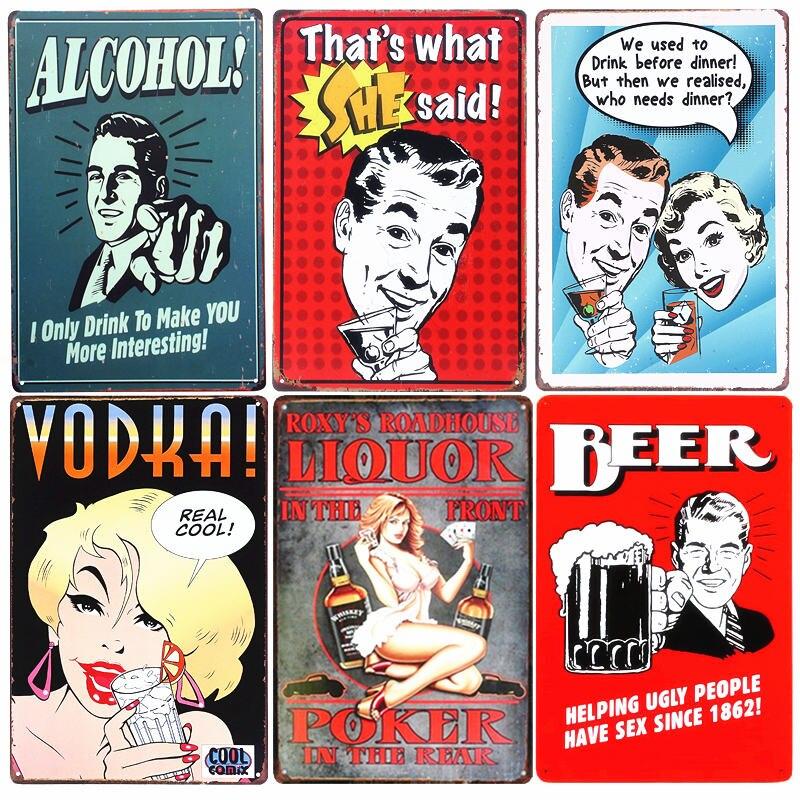 Liquor Shabby Chic Home Bar Vintage Tin Signs Home Decor Retro Tin Sign Pub Decorative Plaque Poker Metal Art Painting A402|home decor|paintings home decorpainting art - AliExpress