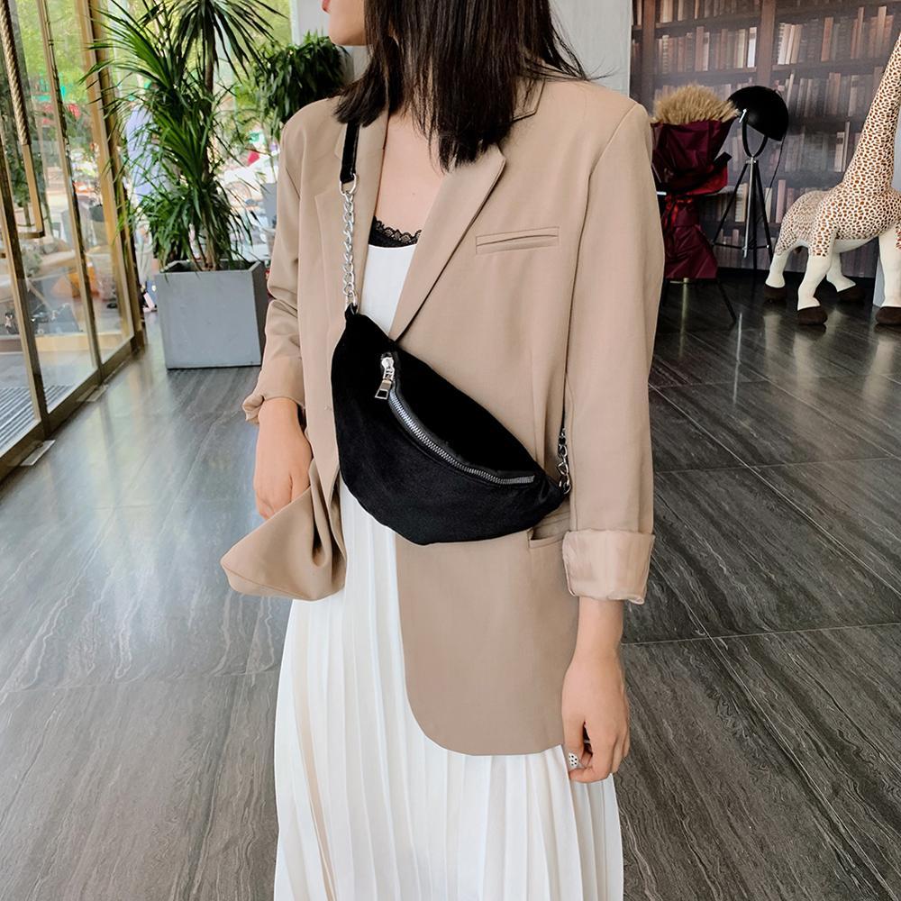 Fashion Velvet Fanny Chest Belt Bags Women Girls Chain Money Phone Purse Zipper Simple Classic Waist Bag Shoulder Crossbody Bags