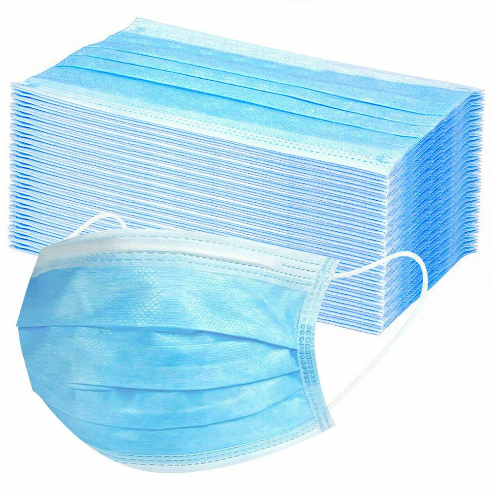 QWER Face Masks 100/50pcs 3-Ply Filter Disposable Mascarillas Mouth Cups Face Mask Anti-dust Non-Woven Safety Mask Fast Shipping