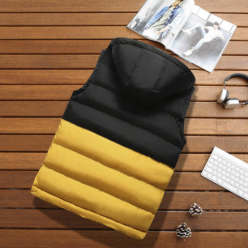 Men Vest Jacket Winter Warm New Casual Sleeveless Down Jacket Mens Solid Patchwork Hooded Waistcoat Cotton-Padded Outwear Male