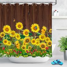 цена на Sunflower Butterfly Print Fabric Rustic Wood Shower Curtain Set Yellow Flower Waterproof Mildewproof Bathroom Shower Curtains