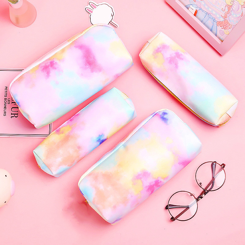 Colorful Pencil Case Stationery Bag For Girls Kawaii Colorful Pencil Bag Heart Dream School Supplies Stationery Make Up Gifts