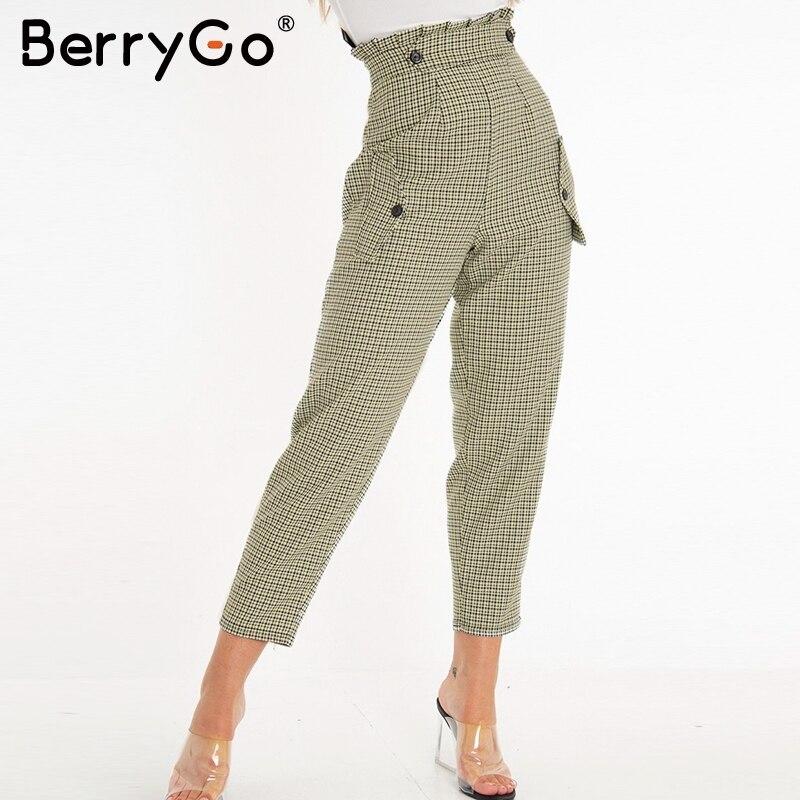 BerryGO Plaid work   pants   women Ruffle high waist zipper harem   pants     capris   female Vintage button ladies autumn trousers 2019