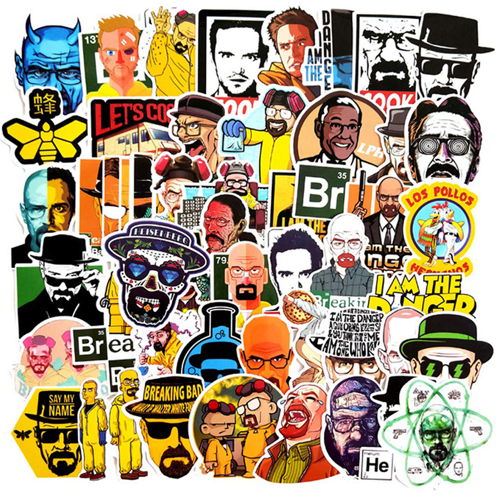 50PCS TV Show Breaking Bad Stickers DIY Skateboard Guitar Suitcase Freezer Graffiti Luggage Motorcycle Classic Toy Cool Stickers