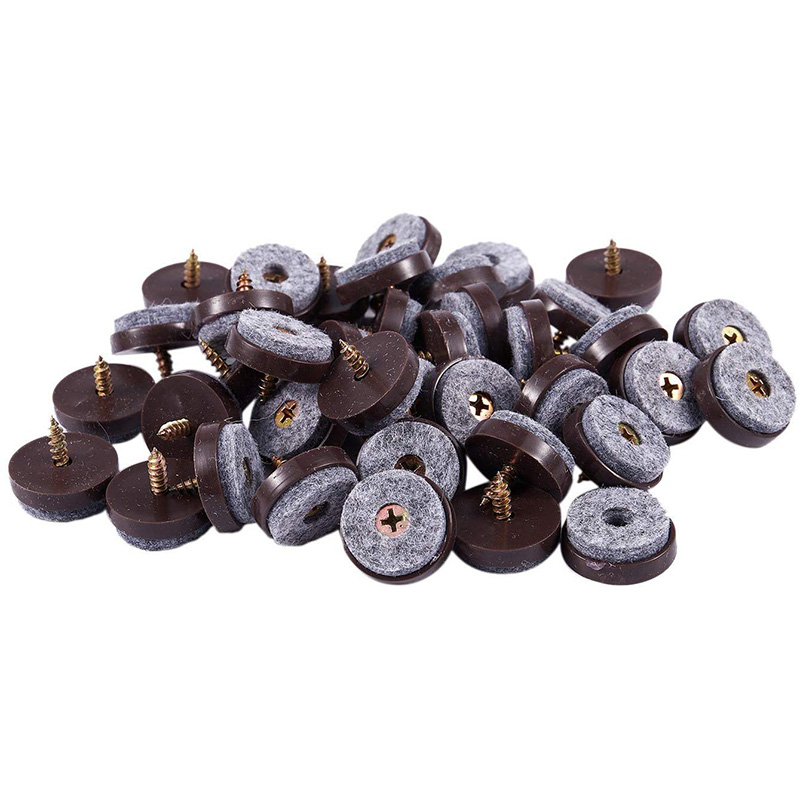 40Pcs Furniture Glide,Screw-On Felt Pad Slider Floor Protector For Wooden Leg Feet Of Chair Table Sofa(28mm, Brown)