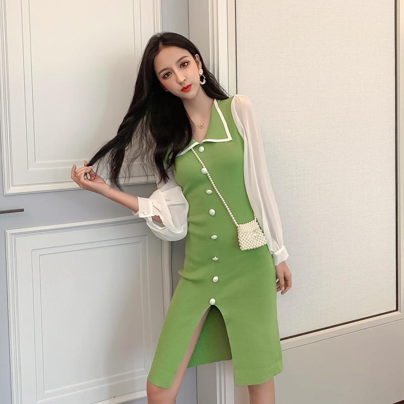 2018 autumn new fashion denim dress women sleeveless solid color Slim V neck OL dresses high quality elegant long Dress - 5