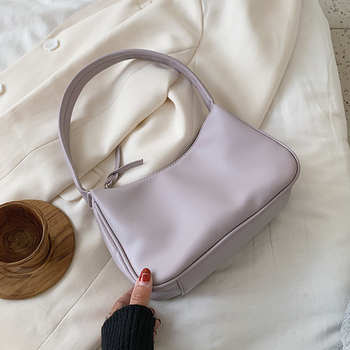 Small Solid Color PU Leather Shoulder Bags For Women 2020 Summer Simple Handbags And Purses Female Tote Bags